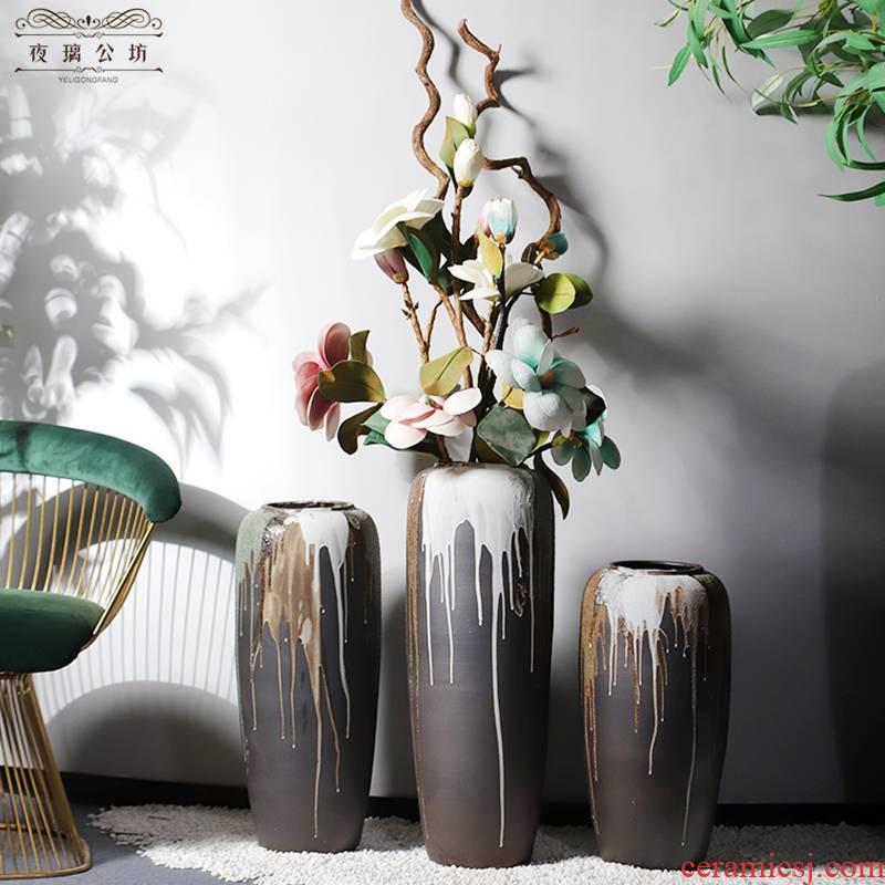 Restoring ancient ways of jingdezhen ceramic large ground vase dried flowers flower arrangement home sitting room porch decorate TV ark, furnishing articles