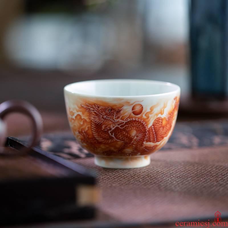 Wen - hua liu alum red longteng all cup of jingdezhen high - end ceramic tea cup personal special master CPU