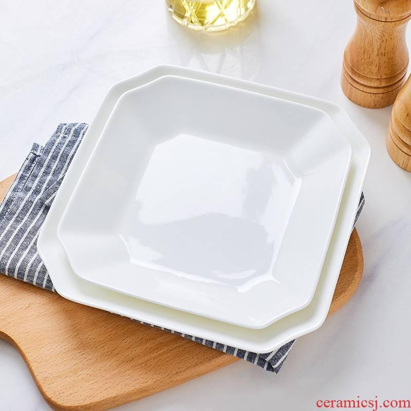The new jingdezhen domestic ipads porcelain plate dish plate deep dish side dish dish pure white ceramic plate deep dish