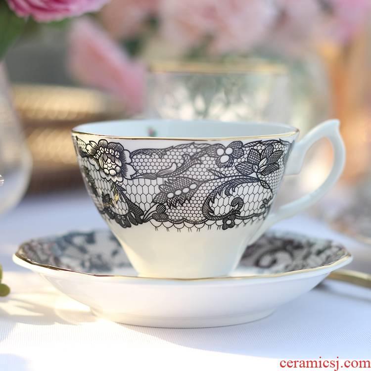 Qiao mu English afternoon tea ipads porcelain child dessert dish dish ceramic snack food dish, black lace