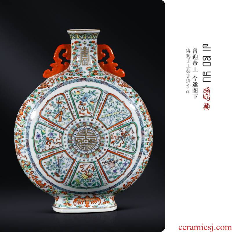 Jingdezhen ceramic see colour porcelain dou archaize sweet on bottles of Chinese style living room porch antique decoration and furnishing articles