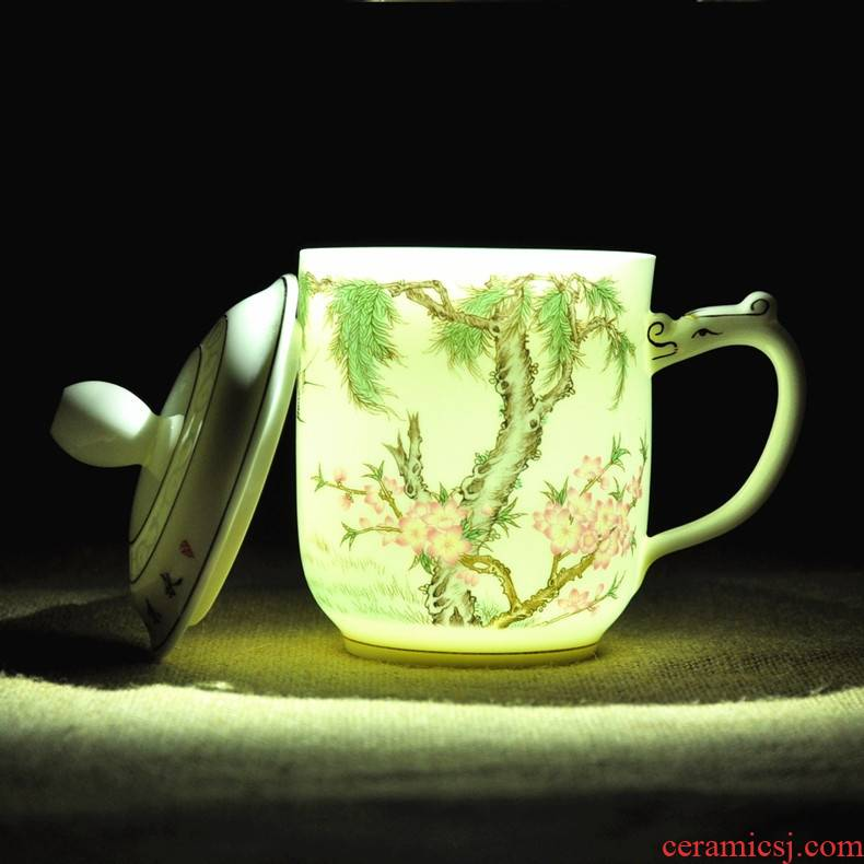 Qiao mu jingdezhen ceramic mugs thin foetus office cup cup and take with cover glass tea cup package mail