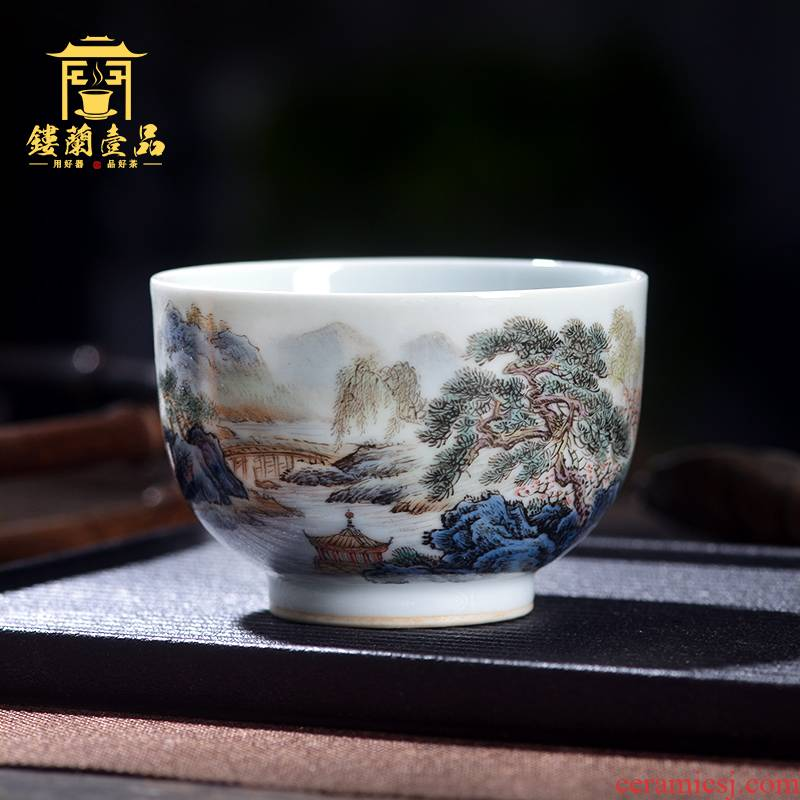 Jingdezhen ceramic all hand - made pastel khe sanh cloud masters cup from the personal single cup sample tea cup tea cups