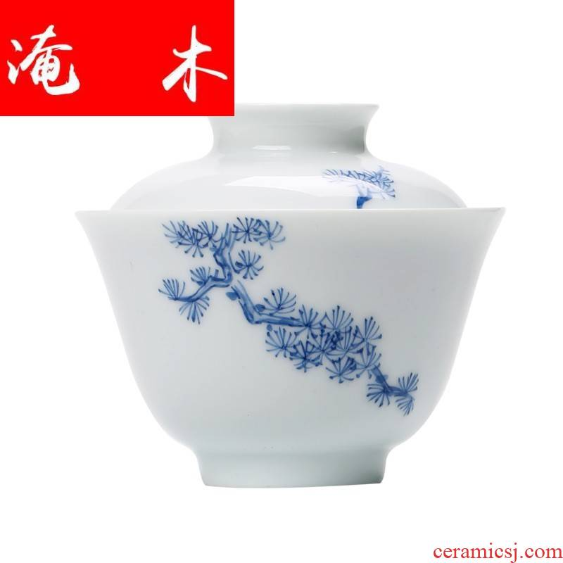 Submerged wood only three tureen jingdezhen porcelain tea bowl hand them thin body Japanese household porcelain of hand - made