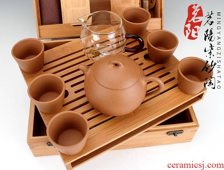 Qiao mu MY yixing it all hand pot of a complete set of high - grade household portable kung fu tea car travel