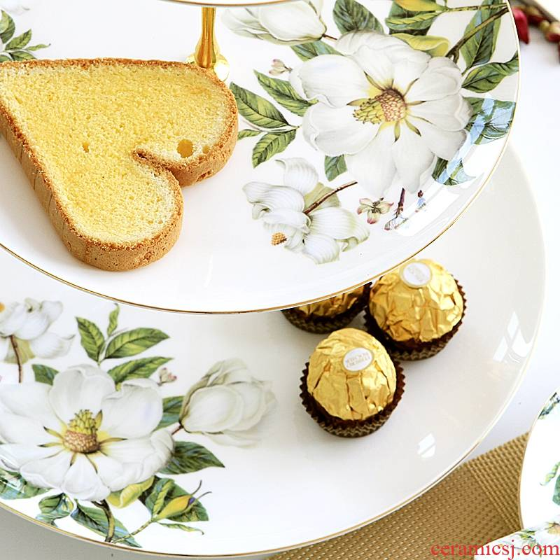 Qiao mu 【 】 European snack plate of three the layers of creative dessert fruit dried fruit dish ceramic cake