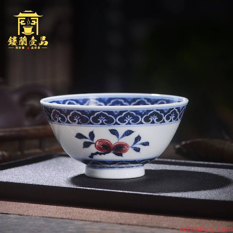 Blue and white triangle flowers pattern circle a fold branch flowers and master cup of jingdezhen ceramic hand - made all single CPU kung fu tea set personal tea cup
