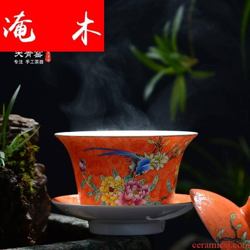 Grilled flooded wood painting of flowers and flower tureen jingdezhen tea hand - made kung fu tea powder enamel three to make tea tureen bowl