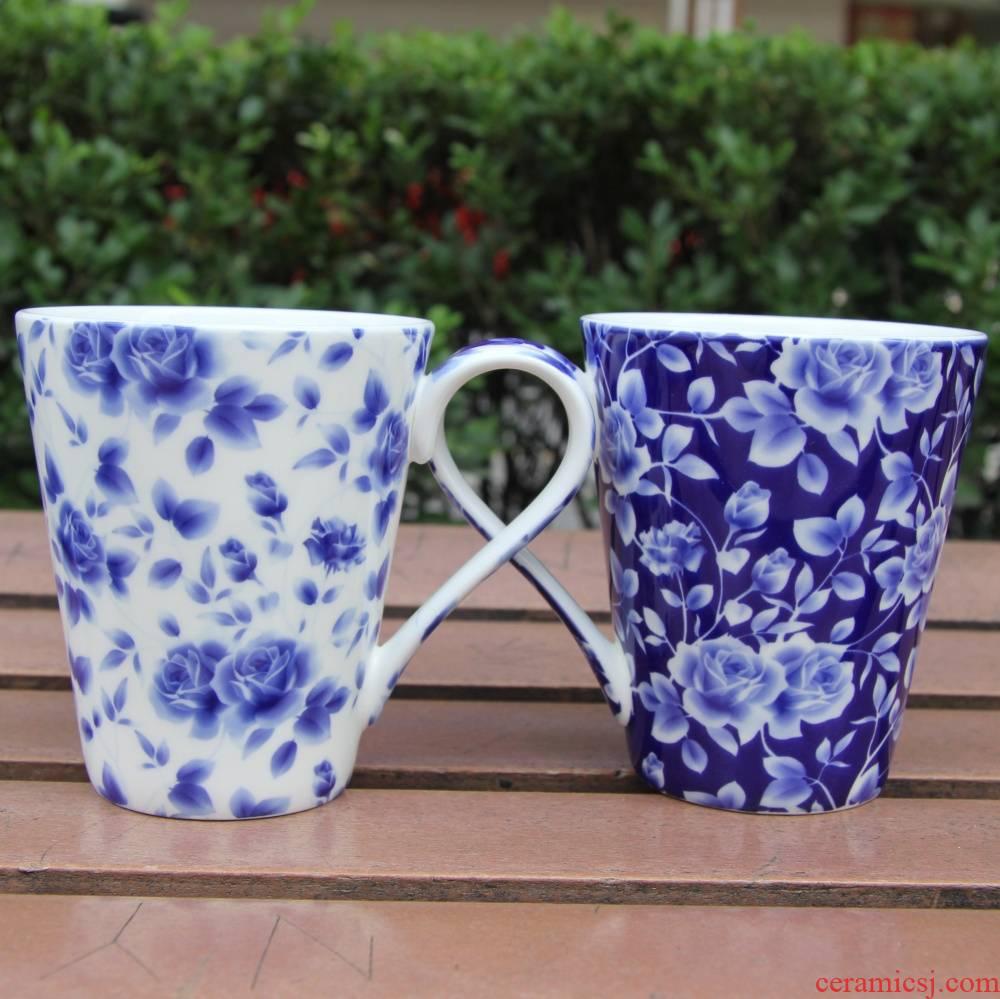 Qiao mu tangshan ipads China blue rose garden lovers mugs glair milk cup ceramic creative glass box