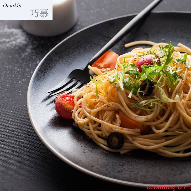 Qiao mu steak western creative ceramics pure color plates pasta dish dinner plate round of disk all the fruit plate