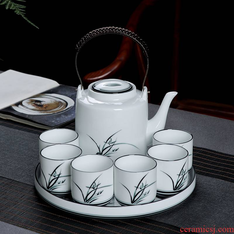 Jingdezhen hand - made kung fu tea set home Chinese ink painting ceramic girder pot of tea tea tray teapot
