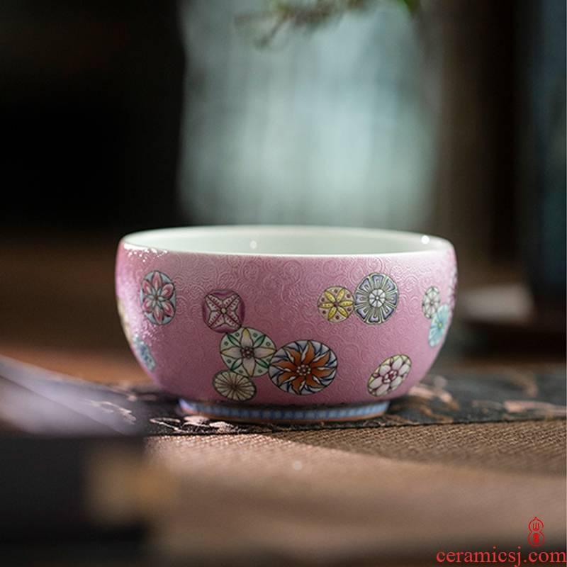 Pastel art circles hall, the ball and a half up jingdezhen ceramics master kung fu tea cup single sample tea cup