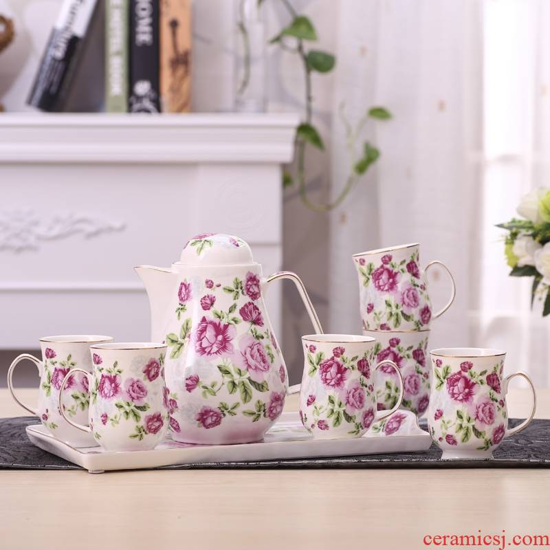 Qiao mu   household heat resistant ceramic kettle cold cold glass cup cup water kettle package biennial reel