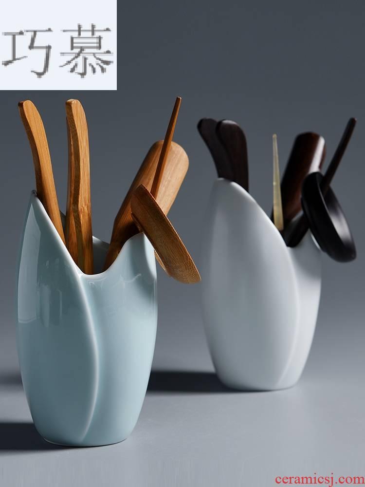 Qiao mu contracted ceramic tea 6 gentleman move ebony bamboo kung fu tea set spare parts ChaGa teaspoon of tea art