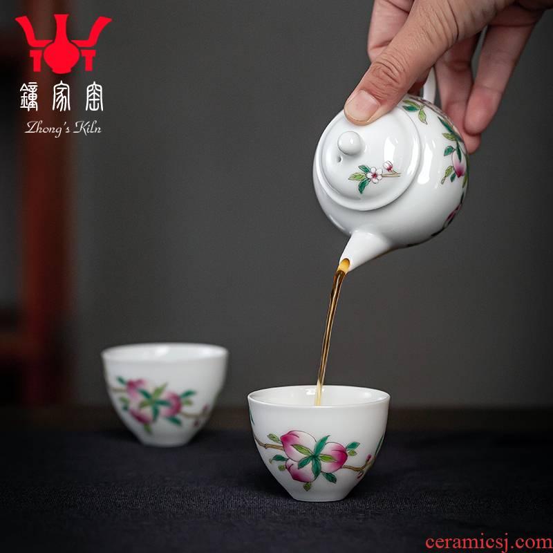 Clock home up pot set teapot single pot of kung fu tea set the teapot jingdezhen ceramic household small capacity pot 2 cups