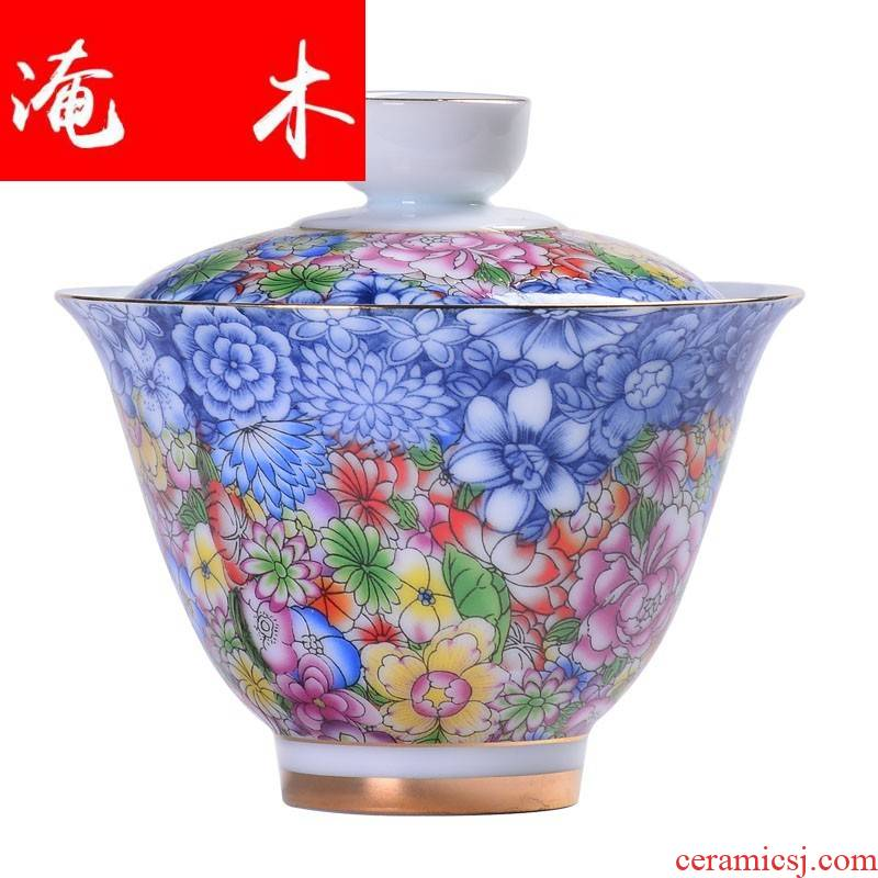Submerged wood only three tureen cup bowl large tea colored enamel flower is white porcelain ceramic household kung fu tea bowl