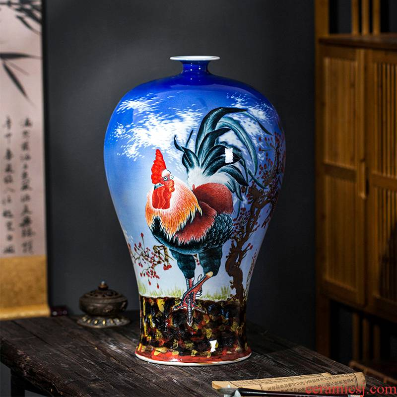 Jingdezhen ceramics prosperous blue vase flower arranging Chinese style restoring ancient ways furnishing articles sitting room TV cabinet decoration
