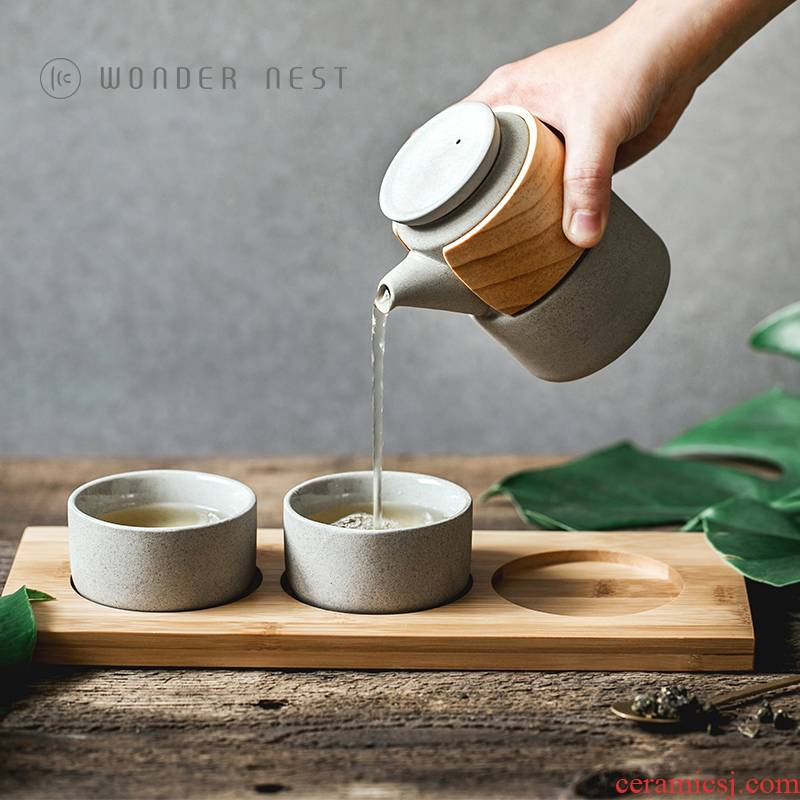 Good nest Japanese what design office is suing coarse pottery teapot cup a pot of 2 cup travel kung fu tea set