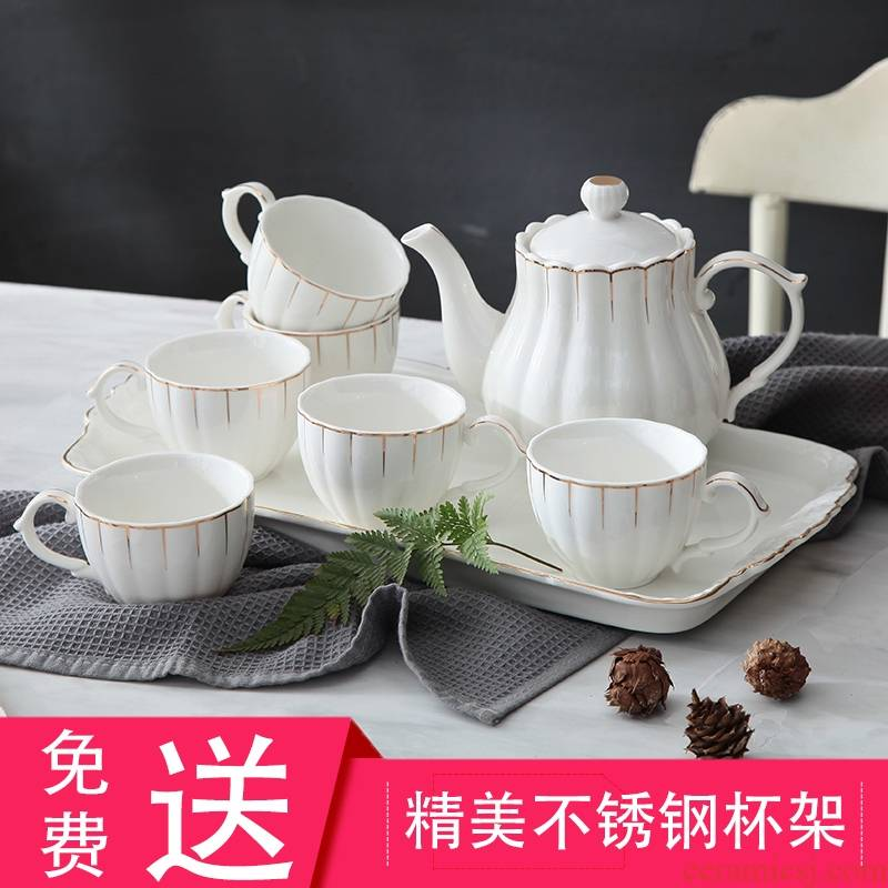 Qiao mu cup suit with tray was home sitting room European - style creative ceramic cup English afternoon tea set tea service
