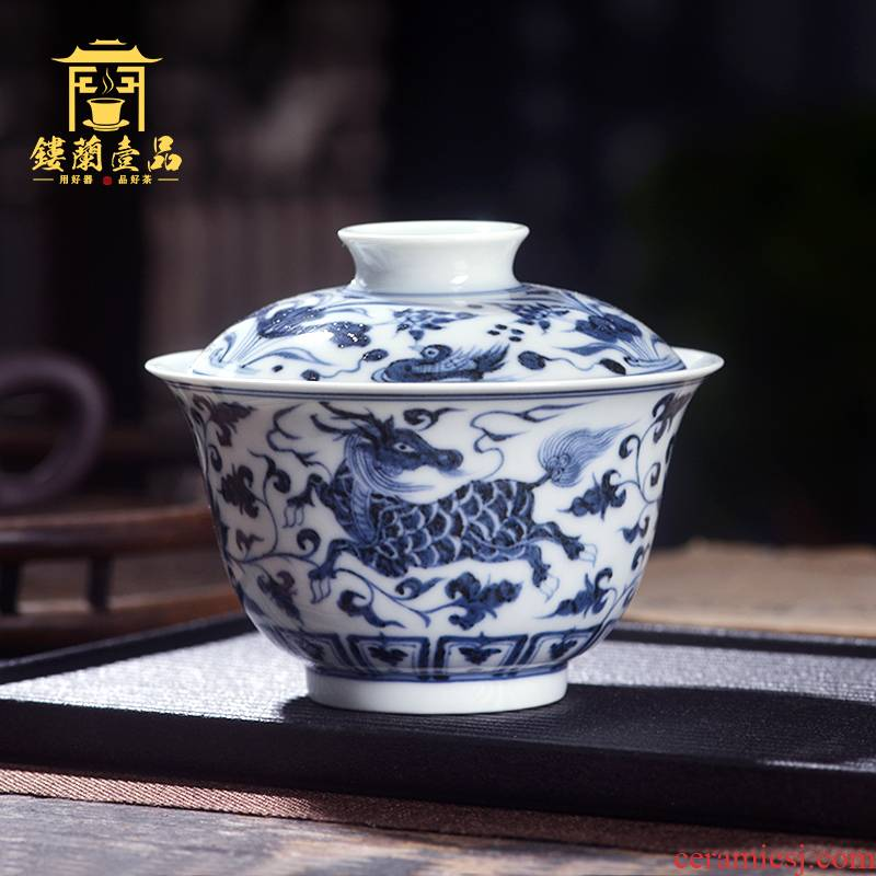 Jingdezhen ceramic hand - made maintain all blue auspicious pattern only two to three tureen large domestic cups tea bowls
