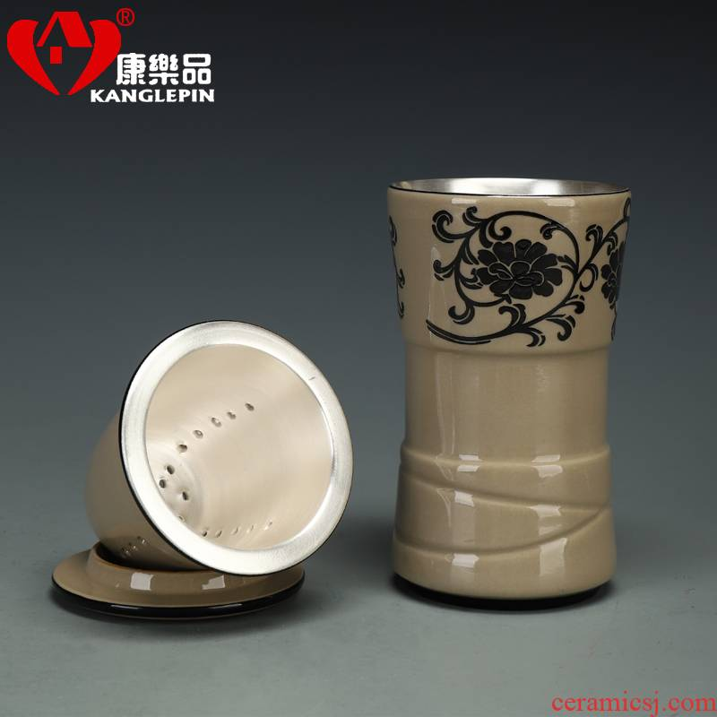 Recreational product tasted silver gilding office separation ceramic tea cup tea cup with ceramic filter tank portable the receive