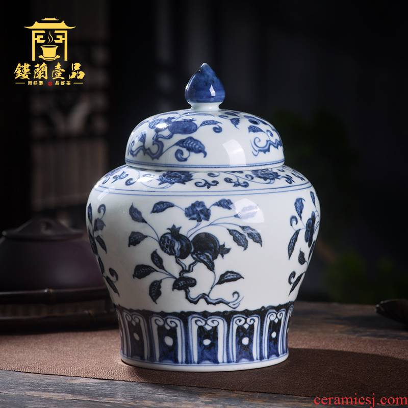 Jingdezhen ceramic all hand - made maintain a fold branch fruit grain of tea canister to storage tanks with cover seal pot furnishing articles
