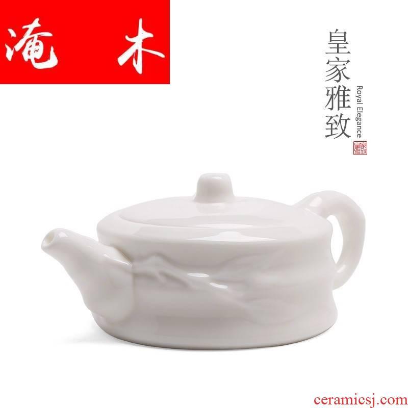 Submerged wood high white dehua white porcelain manual single pot of ceramic teapot kung fu tea set personal CiHu suet white jade bamboo