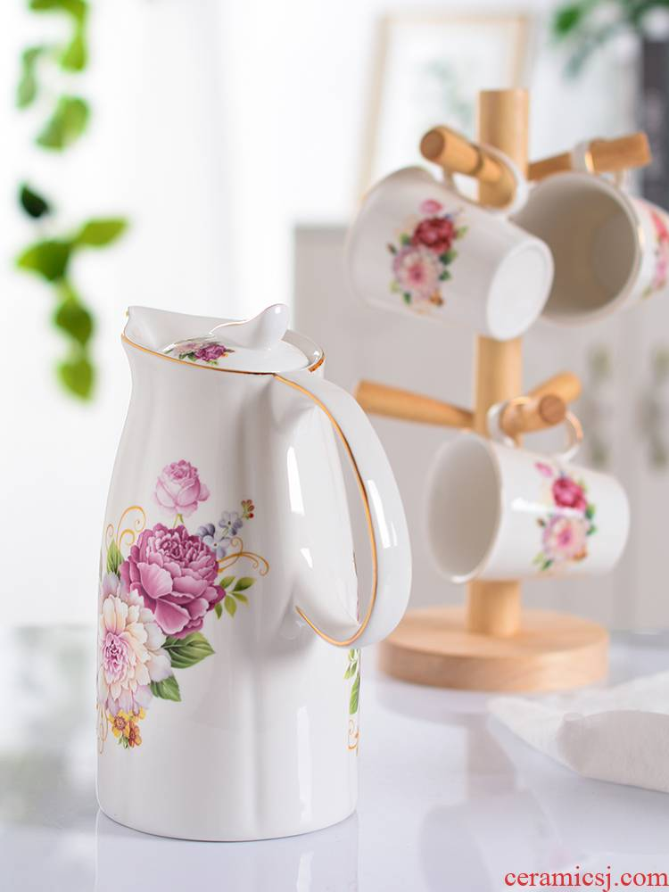 Household cool kettle high - capacity ceramic teapot high - temperature cold flower teapot creative cup water kettle