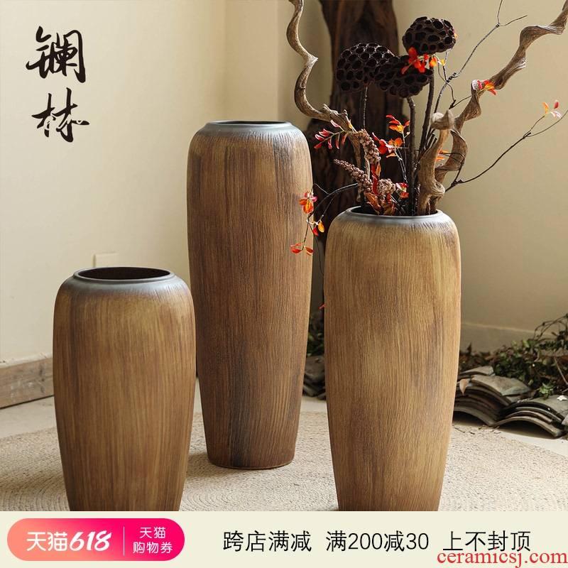 Ceramic vase landing coarse pottery legend home furnishing articles sitting room decorative POTS retro large dry flower pot arranging flowers