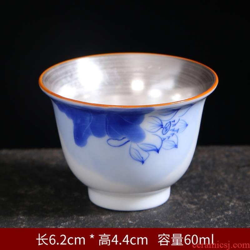 Tasted silver gilding hand - drawn work master single CPU kung fu tea set of blue and white porcelain single individual sample tea cup tea light ceramic tea cup