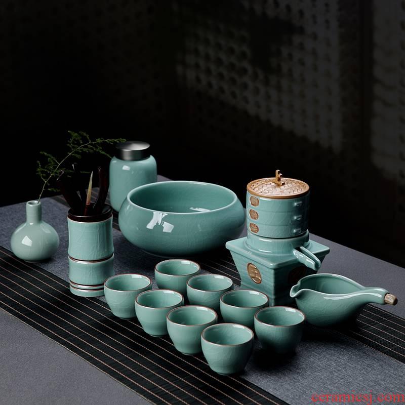 Jingdezhen ceramic semi - automatic lazy stone mill an artifact creative your up crack kung fu tea tea set