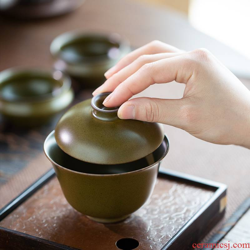 Jingdezhen ceramic glaze at the end of the second to make tea tureen tea bowl bowl domestic high - end kung fu tea set by hand