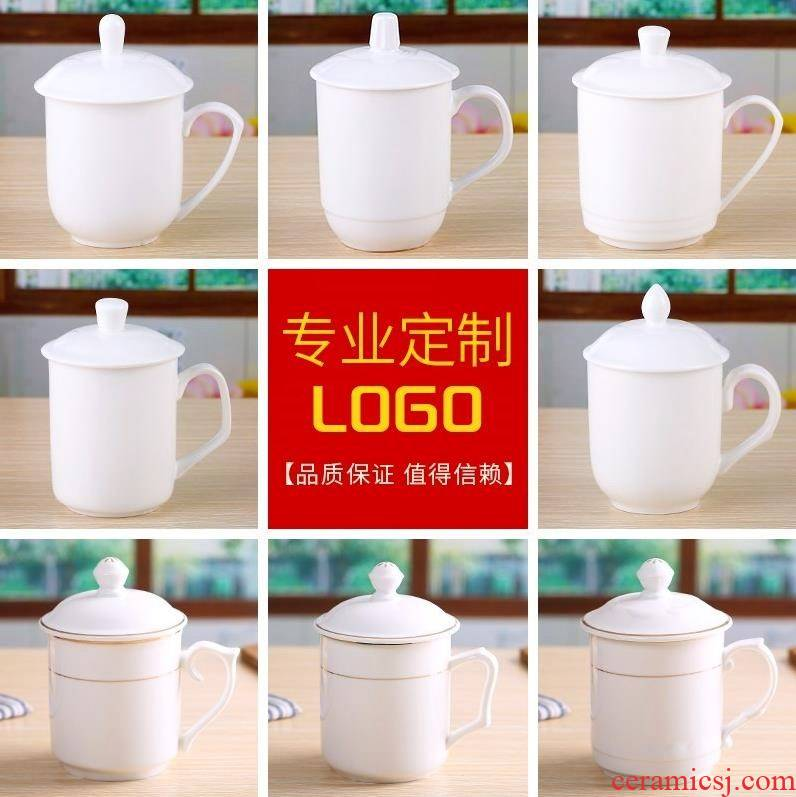 Hotel rooms with ceramic cups with cover LOO custom office conference room dedicated white porcelain water in a cup
