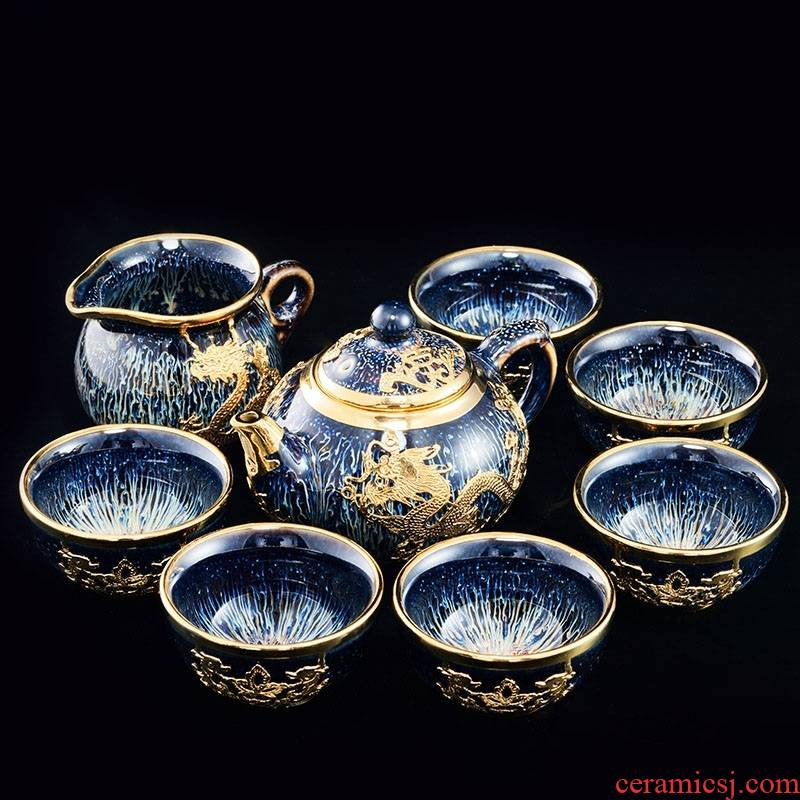 High - grade an inset jades built one variable kung fu tea set key-2 luxury ceramic tureen cup teapot home office