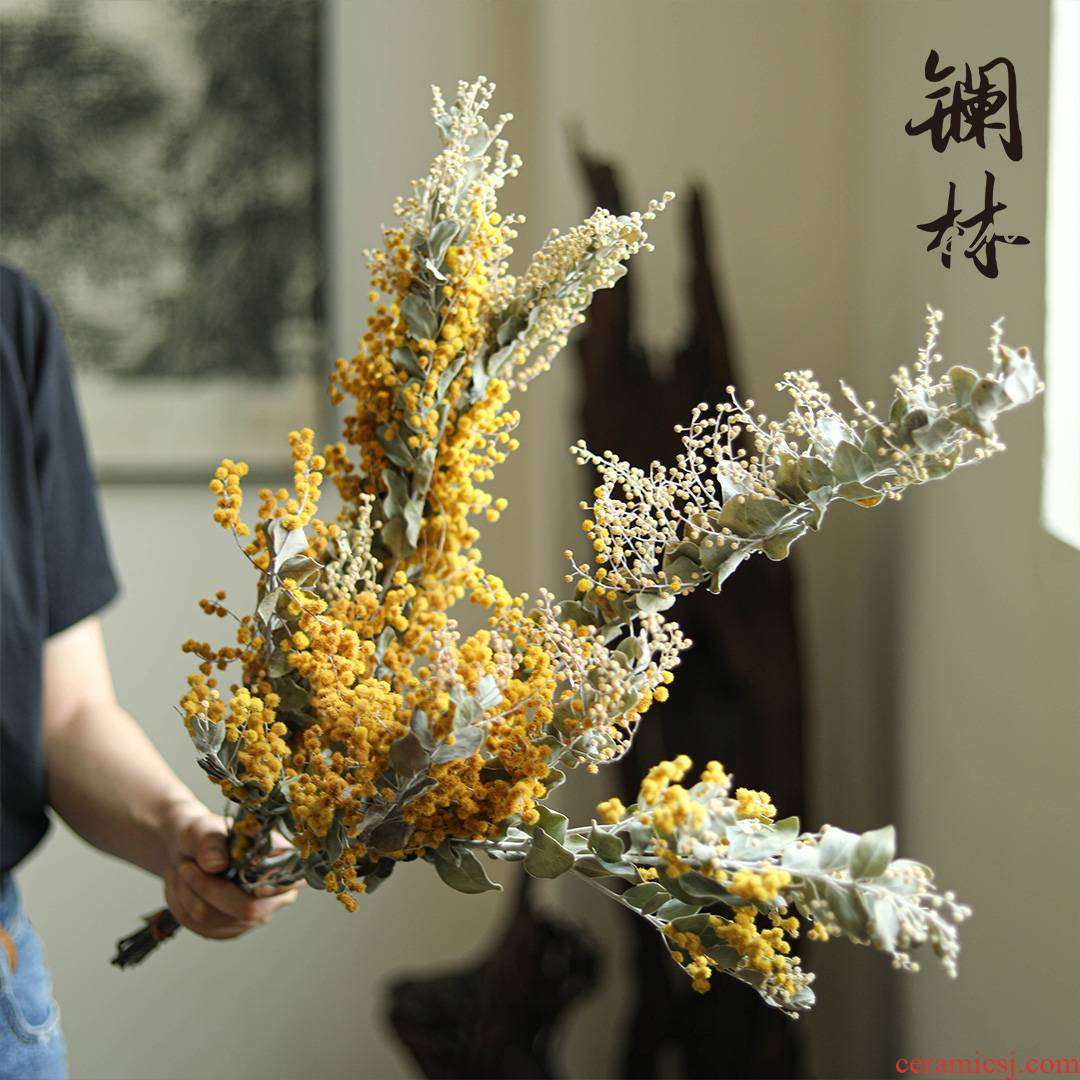 Simulation dried flower bouquet furnishing articles of autumn living flower the original creative ceramic bottle decoration art film props
