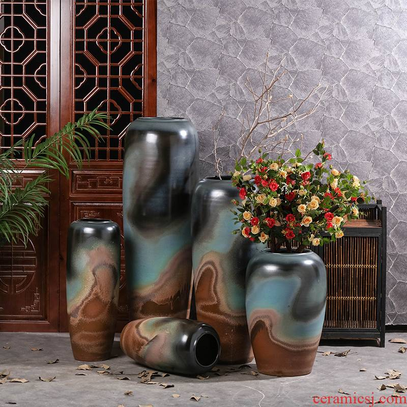 New Chinese style ceramic zen ground vase b&b hotel decorate the sitting room porch TV ark, dry flower arranging flowers is placed