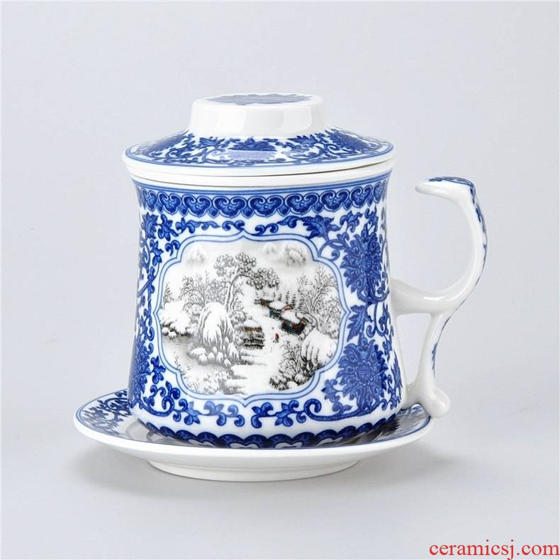 Qiao mu jingdezhen ceramic water filter tea cup office cup four cups with cover plate with a good