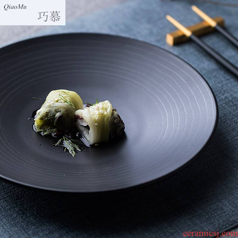 Qiao longed for creative household ceramic plates plate steak restaurant food dish plate threaded salad plate compote pastry disc