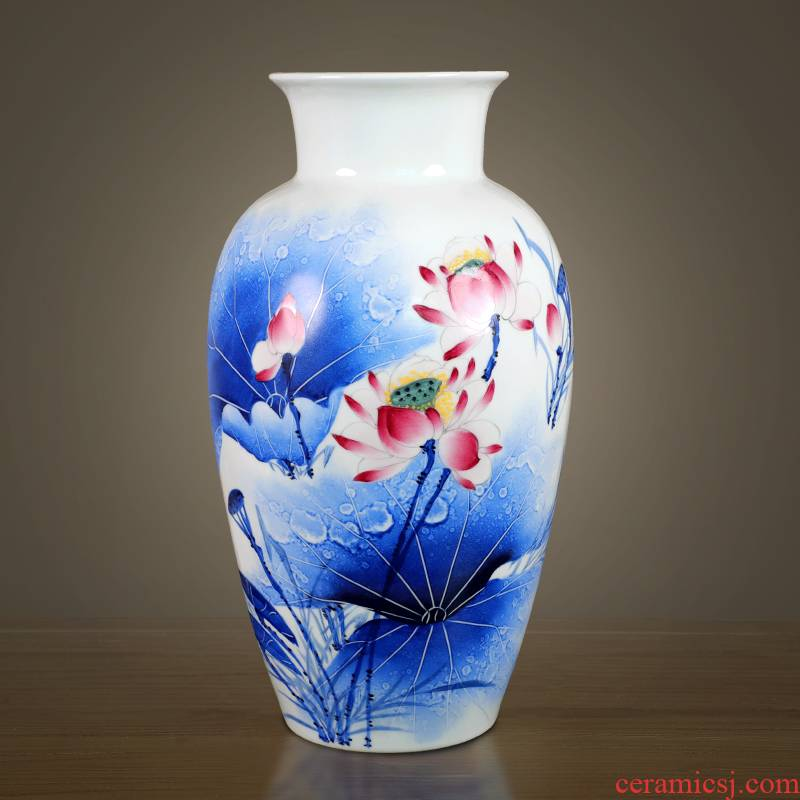 Hand - made vases furnishing articles of jingdezhen ceramics of large sitting room flower arrangement of Chinese style household adornment lotus arts and crafts