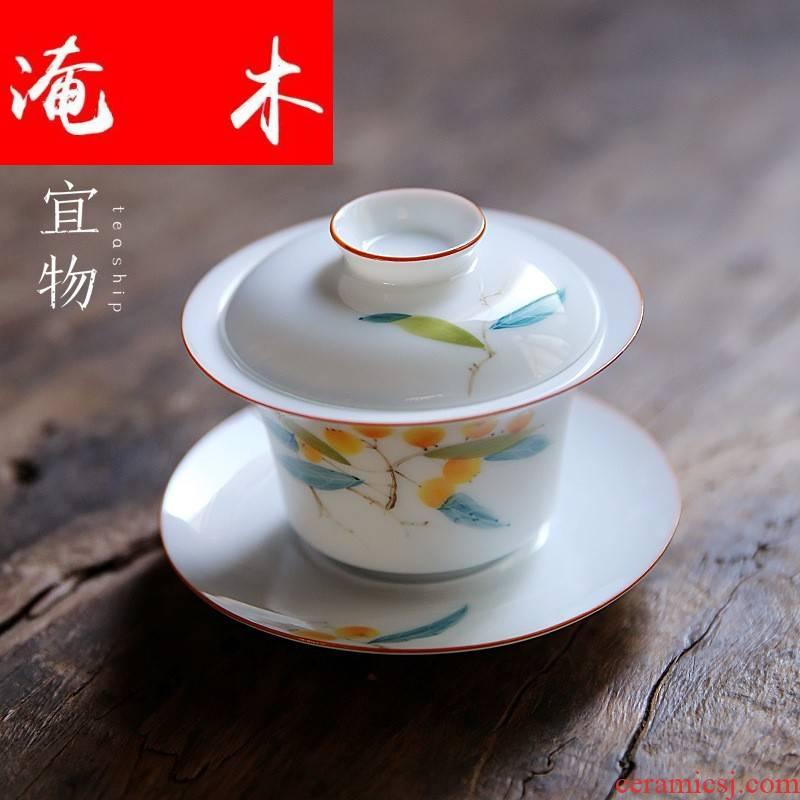 Flooded wood jingdezhen three mercifully machine tureen tea cups ceramic kung fu home very hot under the big three to glaze enamel