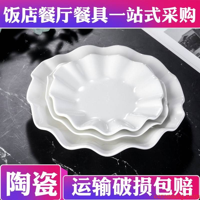 Pure white ceramic plate hotel restaurant hotel kitchen utensils after special specification of lotus leaf dish hot cold dishes