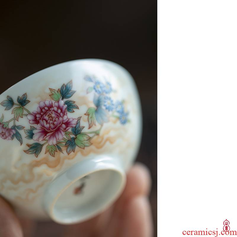 Wen - hua liu alum red chicken & other; Peony riches and honour figure & other; A cup of jingdezhen ceramic cups high - end checking master CPU