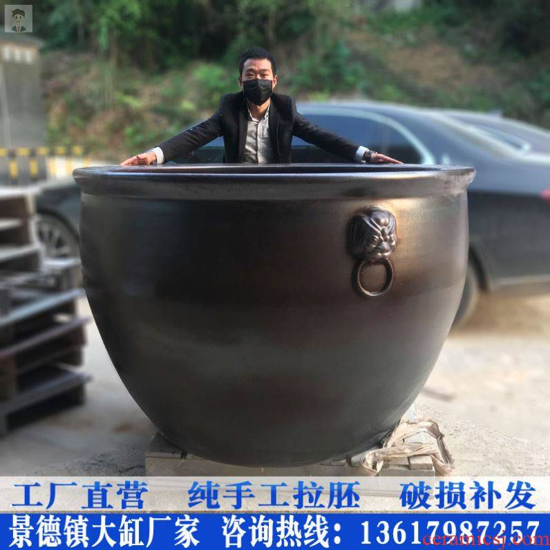 Jingdezhen ceramic VAT brocade carp goldfish bowl archaize oversized lotus garden tank lucky lion ear and cylinder