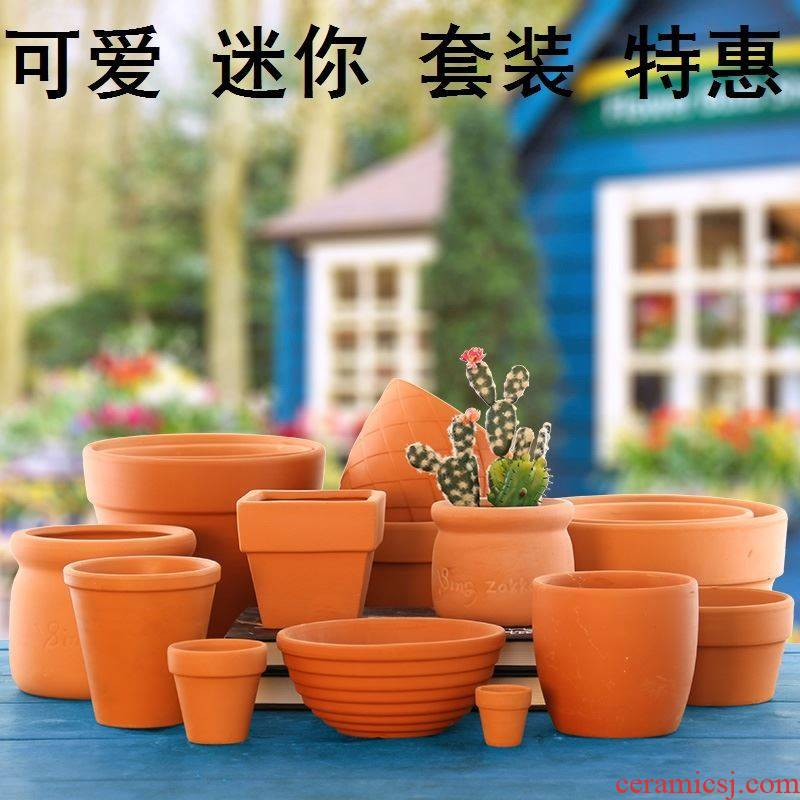 Red clay pot biscuit firing desktop rural green plant is cylindrical, small the plants with small, fleshy flowerpot pure manual