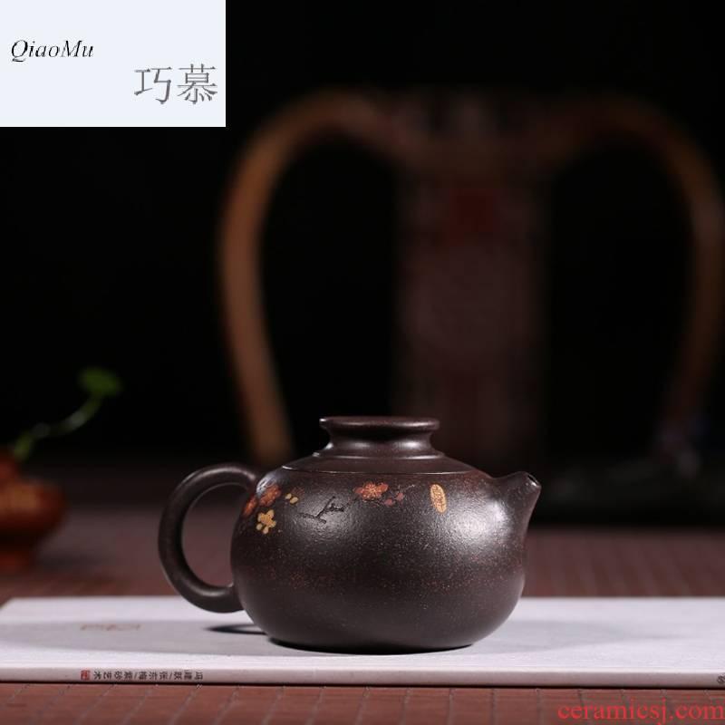 Qiao mu HM pure handiwork famous yixing it a pot of tea ore black star sand name plum blossom put