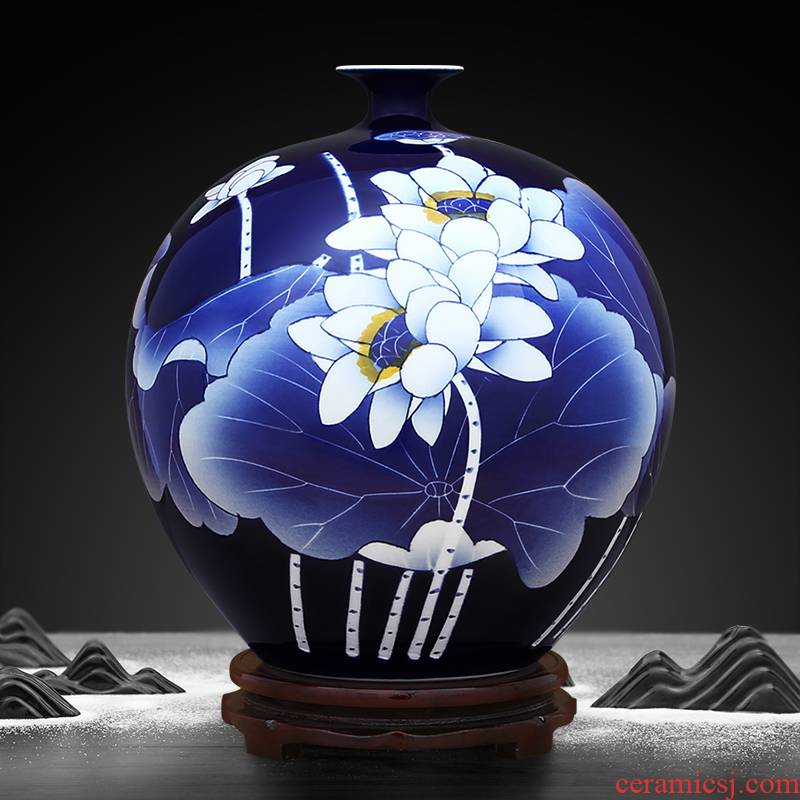 Jingdezhen ceramics hand - made ji blue jade pomegranates vase flower arranging Chinese style household act the role ofing is tasted furnishing articles sitting room