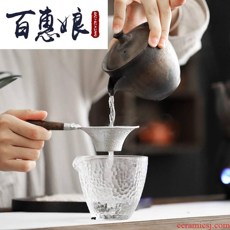 (niang metal glaze crack cup kung fu tea set hand grasp pot of individuality creative ceramic filter teapot
