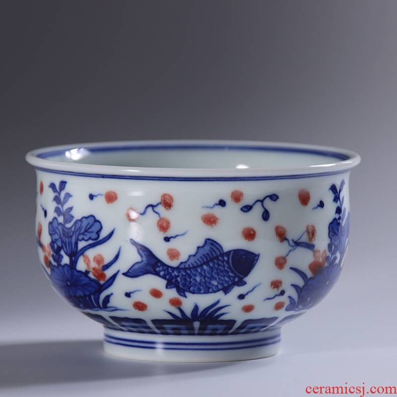 Jingdezhen blue and white porcelain youligong red fish algae lines master cup cup of pure manual hand - made personal high - end tea cup