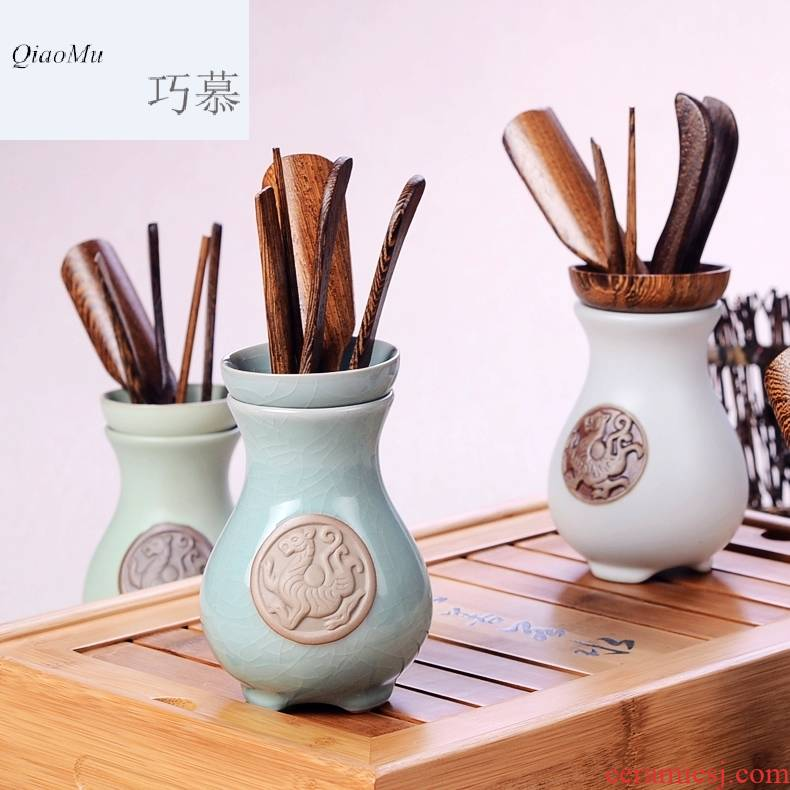 Qiao mu CMJ your up tea tea tray accessories ChaGa ChaZhen ChaBo detong ceramic wenge tea six gentleman