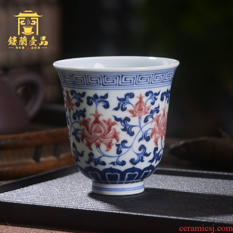 Jingdezhen ceramic blue and white lotus youligong tangled branches hand - made master cup kung fu tea tea cup single CPU fragrance - smelling cup